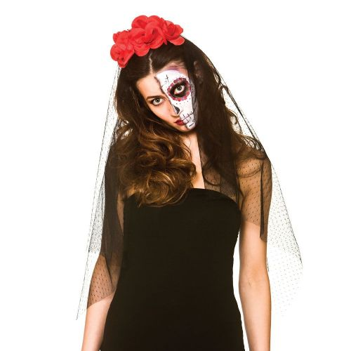 Day Of the Dead Veil for Walking Dead Halloween Zombie Fancy Dress